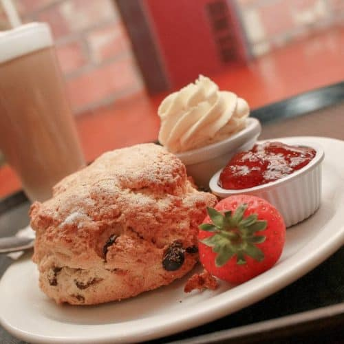 scone with cream and fresh fruit